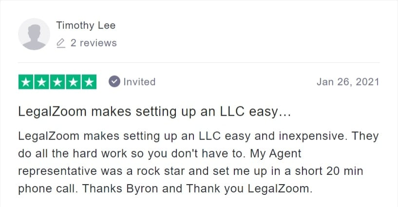 timothy lee legalzoom review